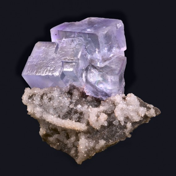fine minerals - fluorite on quartz