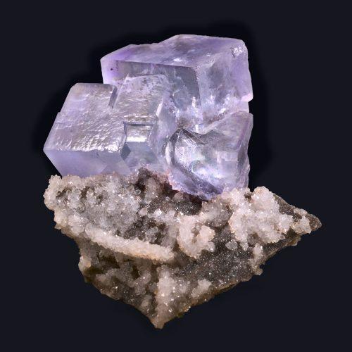 fine minerals - fluorite on quartz